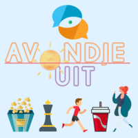 Illustratie met popcorn, schaakstuk, hardloper, frisdrank en logo van Avondje Uit
