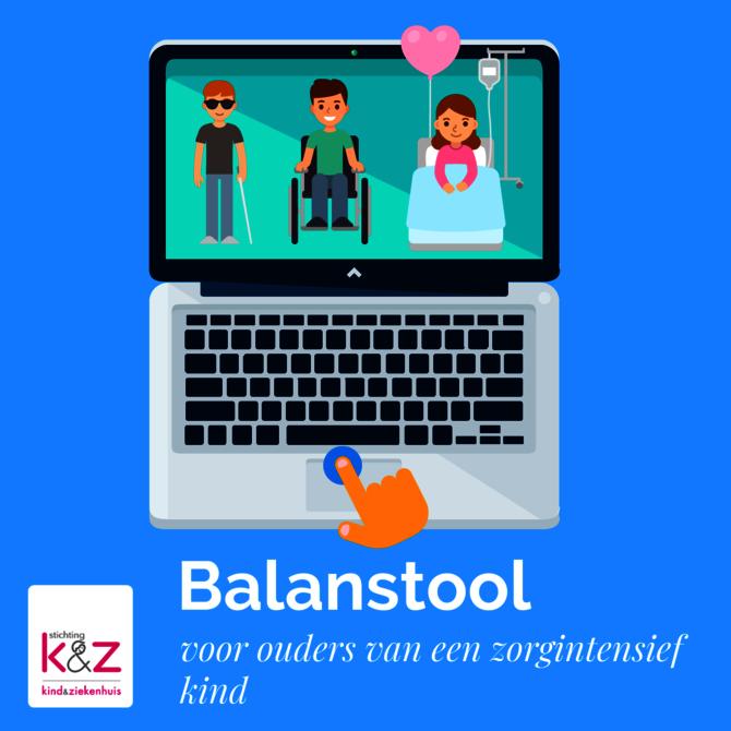 Illustratie van laptop met op scherm kinderen die zorg nodig hebben. Ook de tekst: Balanstool voor ouders van een zorgintensief kind