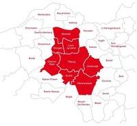 Plattegrond van de regio Midden-Brabant