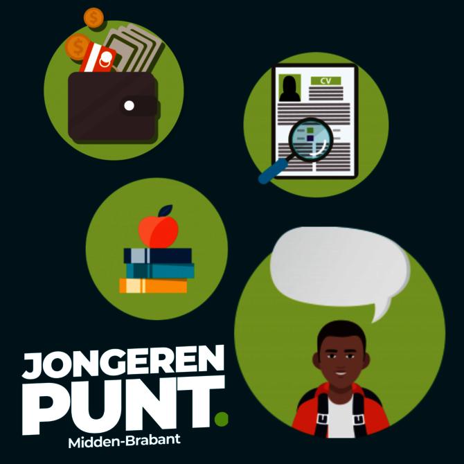 Afbeelding met logo van jongerenpunt en illustraties van geld, cv en studieboeken