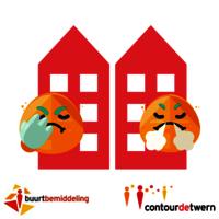 Afbeelding van twee boze buren met logo van Contourdetwern