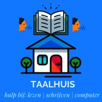Illustratie van huis met boek erop en sprekende mensen en tekst: Taalhuis