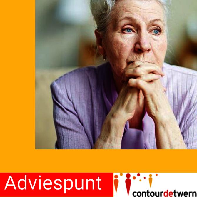 Afbeelding van peizende vrouw met tekst Adviespunt en logo Contourdetwern